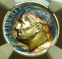 1954 NGC PF66 STAR ROOSEVELT SILVER DIME RAINBOW COLOR TONE INTENSE BLUES STAR