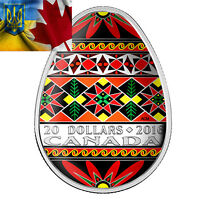 CANADA 2016 20$ TRADITIONAL UKRAINIAN PYSANKA EGG SHAPE 1OZ SILVER COIN