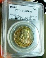 1958 D NGC MS65 FBL RAINBOW TONED GREEN PINK FRANKLIN FULL BELL LINE COLOR TONED