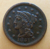 1851 LARGE CENT VF FINE CONDITION
