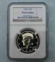 1970 S NGC PF69 CAM KENNEDY HALF DOLLAR FROSTY GEM PROOF 69 CAMEO COIN