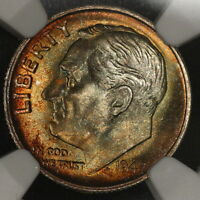 1947 S ROOSEVELT DIME MS67 FT FULL TORCH W/ APPEALING RAINBOWQ COLOR TONED I3