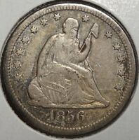 1856 O SEATED LIBERTY QUARTER EF ORIGINAL PROBLEM FREE EXAMPLE  0209 05