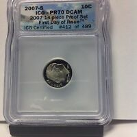 2007 S ICG PR70 DCAM ROOSEVELT DIME 1ST DAY OF ISSUE CERTIFIED