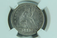 1853 SEATED LIBERTY ARROWS AND RAYS QUARTER DOLLAR NGC XF 45