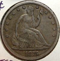1875 SEATED LIBERTY HALF DOLLAR ORIGINAL CHOICE FINE