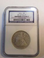 1858 SEATED HALF DOLLAR 50C SS REPUBLIC SHIPWRECK EFFECT NGC