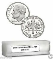 2003 S PROOF ROOSEVELT SILVER 50 DIME ROLL