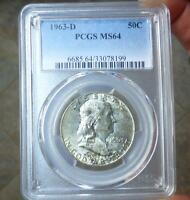 1963 D PCGS MS64 FRANKLIN SILVER HALF DOLLAR TONED MS 64 COIN NICE LUSTER