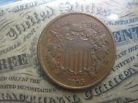 1865 TWO CENT PIECE   RED/BROWN  EXTRA FINE /AU