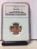1955 D MS 65 RD NGC LINCOLN WHEAT CENT