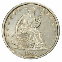 1843 SEATED HALF DOLLAR   FLASH OF ORIG. LUSTER CHOICE AU ABOUT UNCIRCULATED