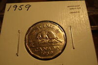 1959   CANADA NICKEL   CIRCULATED   CANADIAN FIVE CENT COIN