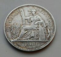 INDO CHINA FRENCH 1 PIASTRE 1900. KM5A.1. ONE SILVER DOLLAR COIN. CROWN SIZE.
