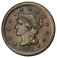 1851 BRAIDED LARGE CENT    HIGH GRADE PROBLEM FREE MINT STATE UNCIRCULATED