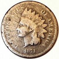 1873 INDIAN HEAD CENT BRONZE BETTER DATE  CLOSED 3 VARIETY