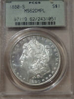 DMPL FROSTY FACE 1880 S MS62DMPL  PCGS MORGAN SILVER DOLLAR IN AN OGH