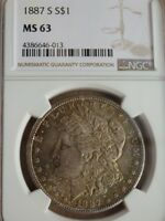 MORGAN DOLLAR 1887-S MINT STATE 63 NGC  SILVER, BUSINESS   1887-S