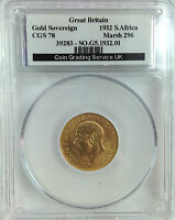 1932  GOLD FULL SOVEREIGN GEORGE V SA  UNCIRCULATED   SLABBED CGS78  PCGS MS64
