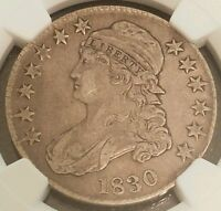 1830 CAPPED BUST SILVER HALF DOLLAR NGC CERTIFIED VF 35