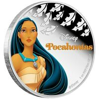 NIUE DISNEY $2 DOLLARS 1 OZ. SILVER PROOF COIN 40MM 2016 PRINCESS POCAHONTAS