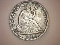 1870 S SEATED LIBERTY HALF DOLLAR 50C XF WITH DETAILS