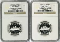 1999 S NEW JERSEY SILVER STATE QUARTERS 25C LOT OF 2 NGC PF69 ULTRA CAMEO