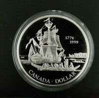 CANADA SILVER DOLLAR 1999 PROOF. 1774 1999. SHIP. BOAT. .925,25G.,36MM IN CASE.