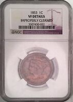 1853 BRAIDED HAIR LIBERTY CENT PENNY NGC VF DETAILS LIGHT COLOR TONED 5182