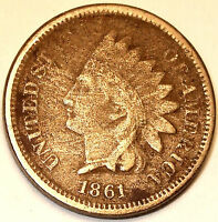 1861 INDIAN HEAD CENT COPPER/NICKEL SEMI KEY LIBERTY NICE DETAIL.