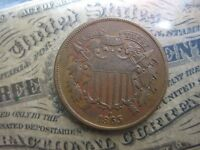 1865 2 CENT PIECE EXTRA FINE /AU STRONG 'WE