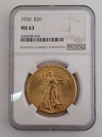 1926 SAINT GAUDENS $20 DOUBLE EAGLE GOLD COIN NGC MS 63