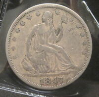 1847 O SEATED LIBERTY SILVER HALF DOLLAR   F/VF    K197