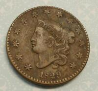 1829 LARGE CENT CORONET STRONG STRIKE LOOKS FINE SEE PHOTOS NICE EXAMPLE
