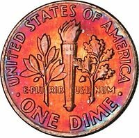 1976 D ROOSEVELT DIME BU MS VIBRANT MULTI COLOR TONED 12174