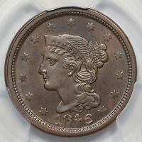 1846 N 17 R 4 PCGS MS 62 BN SMALL DATE BRAIDED HAIR LARGE CENT COIN 1C EX; TLC