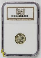 1945 D 10 MERCURY DIME GRADED BY NGC AS MS 66 GORGEOUS STRIKE