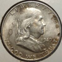 1949 D FRANKLIN HALF DOLLAR CHOICE ALMOST UNCIRCULATED   1110 09