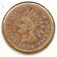 1884 INDIANHEAD 1 CENT CIRCULATED COPPER COIN