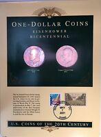 1976 IKE BICENTENNIAL DOLLAR 2 COIN & STAMPS SET BU STUNNING RAINBOW COLOR TONED