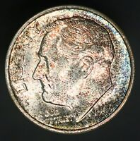 1949 S ROOSEVELT DIME 10C STRONG BANDS COLOR A BEAUTIFUL EXAMPLE UNC GC326