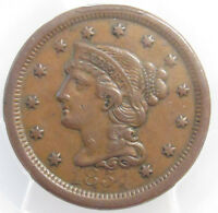 1854 LARGE CENT PCGS EXTRA FINE 45