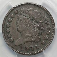 1811 C 1 R 4 PCGS F DETAILS NO BREAK CLASSIC HEAD HALF CENT COIN 1/2C