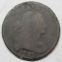1797 S-137 R-2 LDS HEAVY SWELLING DRAPED BUST LARGE CENT COIN 1C