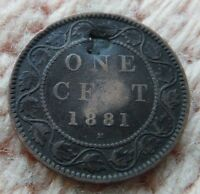 CANADA 1881 LARGE CENT COUNTERSTAMPED