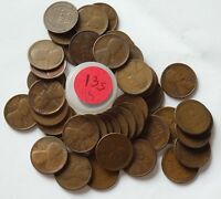 A ROLL OF 45 1913-S SEMI KEY LINCOLN WHEAT BACK PENNIES  BUSINESS  UNGRADED