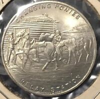 1947 C. SMITH SO CALLED 50 CENT PONY EXPRESS DIAMOND JUBILEE 1860 1935 MINT UNC.