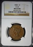 1848 LARGE CENT NEWCOMB 20 CHOICE UNC  PENNY 1C BRAIDED HAIR NGC MS63