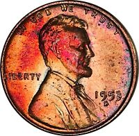 1953-D LINCOLN WHEAT CENT PENNY BU MS YELLOW & ORANGE COLOR TONED GEM 10133