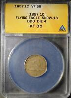 1857 DDO FLYING EAGLE CENT  PENNY DOUBLED DIE ERROR SHIPS FREE ANACS VF35